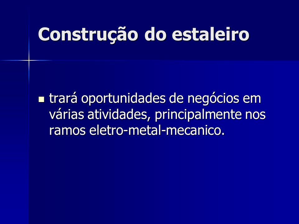 Construção do estaleiro trará oportunidades de negócios em várias atividades, principalmente nos ramos eletro-metal-mecanico. trará oportunidades de n