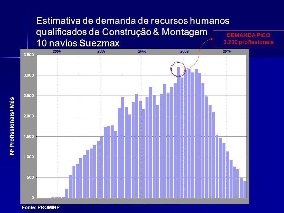 Estimativa de demanda de recursos humanos qualificados de Construção & Montagem 10 navios Suezmax Nº Profissionais / Mês 20062007200820092010 DEMANDA