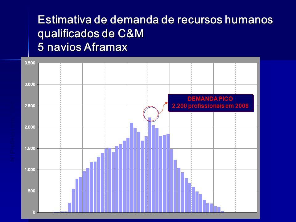 Estimativa de demanda de recursos humanos qualificados de C&M 5 navios Aframax 20062007200820092010 Nº Profissionais / Mês 20062007200820092010 DEMAND