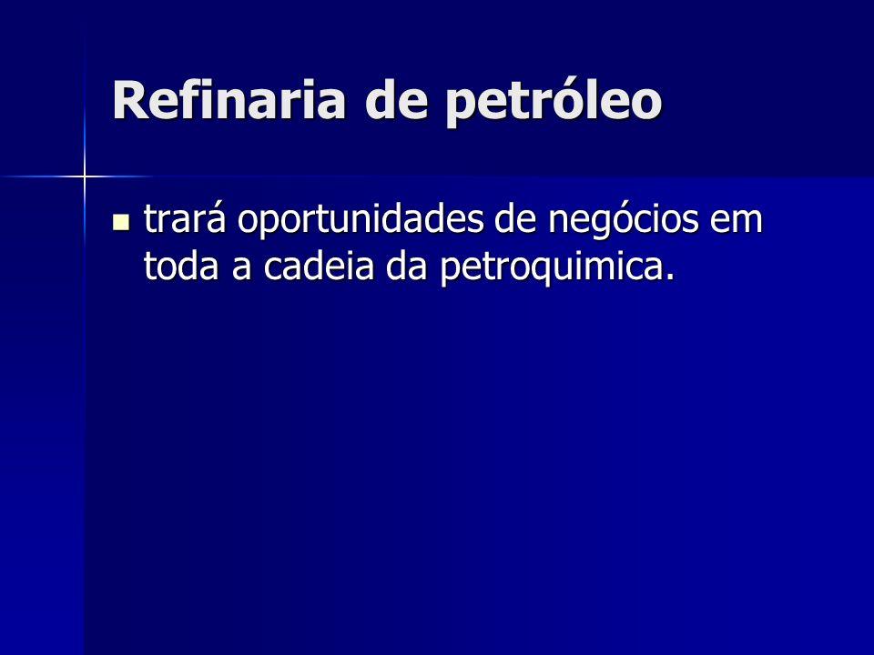 Refinaria de petróleo trará oportunidades de negócios em toda a cadeia da petroquimica. trará oportunidades de negócios em toda a cadeia da petroquimi