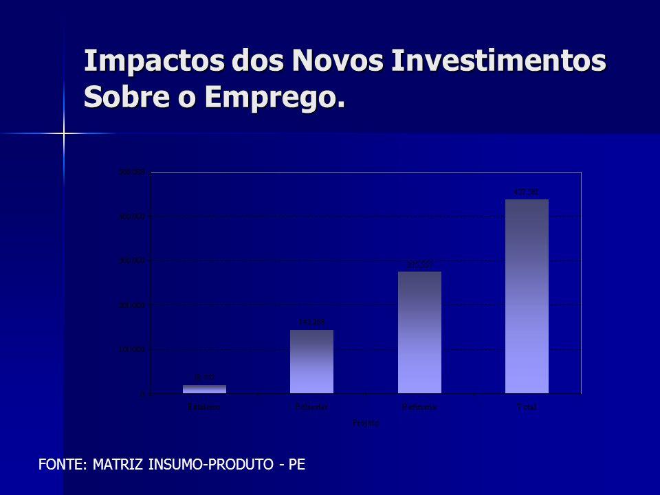 Impactos dos Novos Investimentos Sobre o Emprego. FONTE: MATRIZ INSUMO-PRODUTO - PE