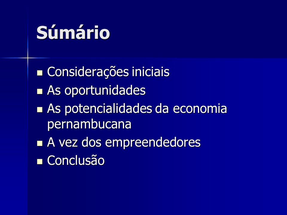 Súmário Considerações iniciais Considerações iniciais As oportunidades As oportunidades As potencialidades da economia pernambucana As potencialidades