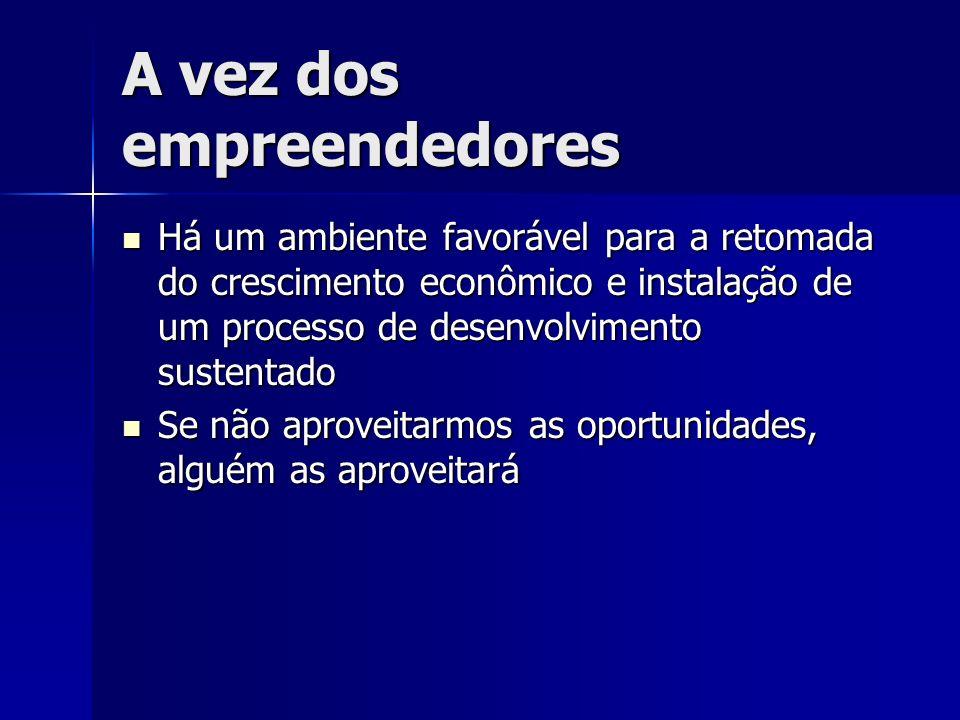 A vez dos empreendedores Há um ambiente favorável para a retomada do crescimento econômico e instalação de um processo de desenvolvimento sustentado H