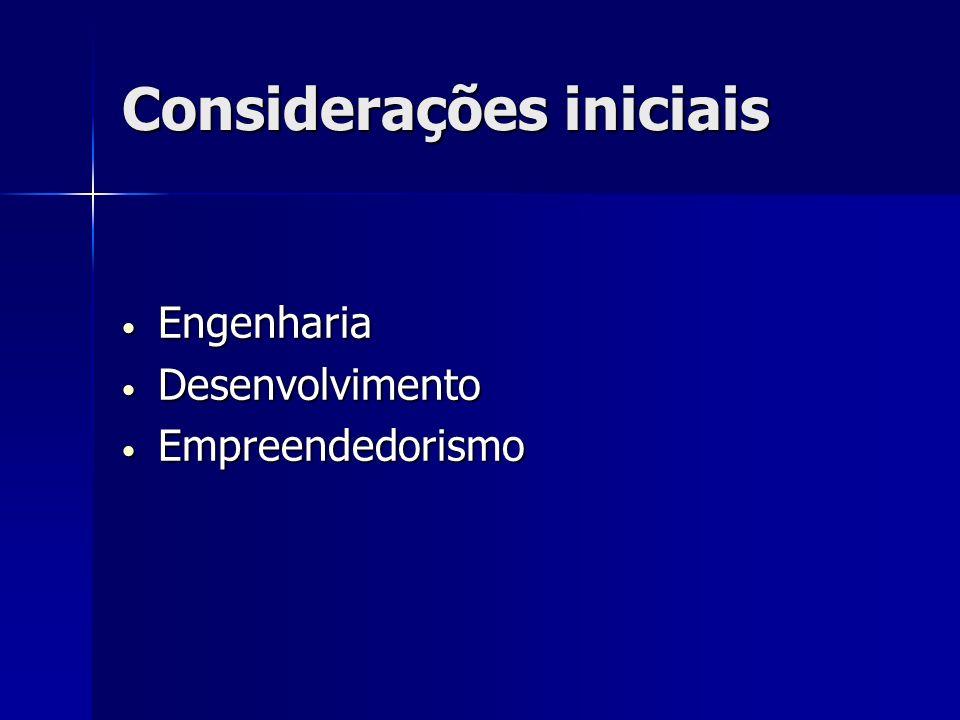 Considerações iniciais Engenharia Engenharia Desenvolvimento Desenvolvimento Empreendedorismo Empreendedorismo