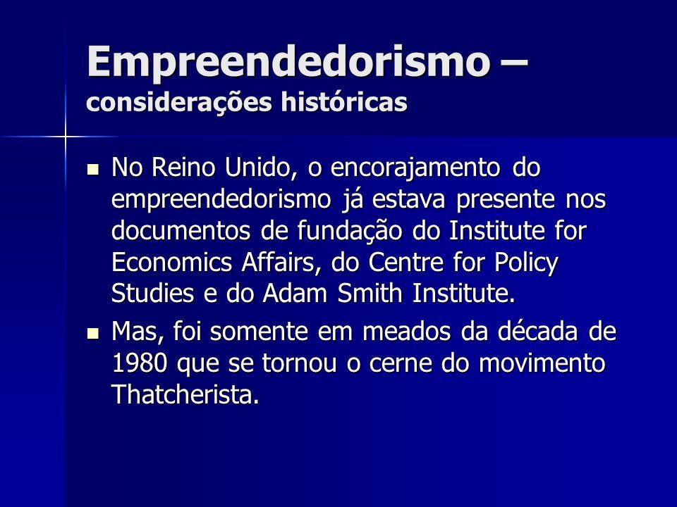 Empreendedorismo – considerações históricas No Reino Unido, o encorajamento do empreendedorismo já estava presente nos documentos de fundação do Insti