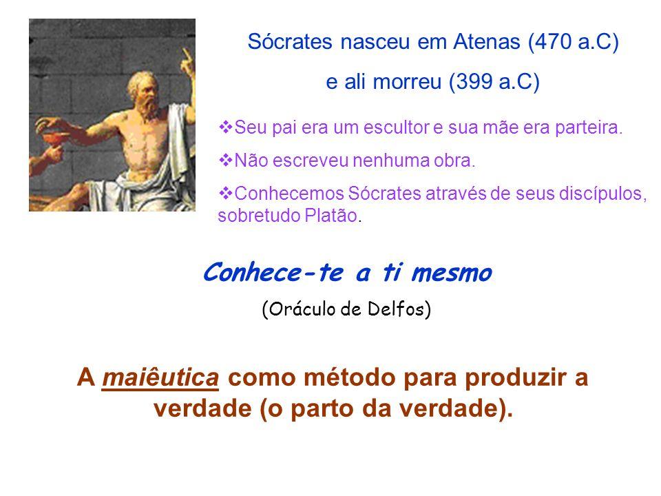 Sócrates nasceu em Atenas (470 a.C) e ali morreu (399 a.C) Seu pai era um escultor e sua mãe era parteira. Não escreveu nenhuma obra. Conhecemos Sócra