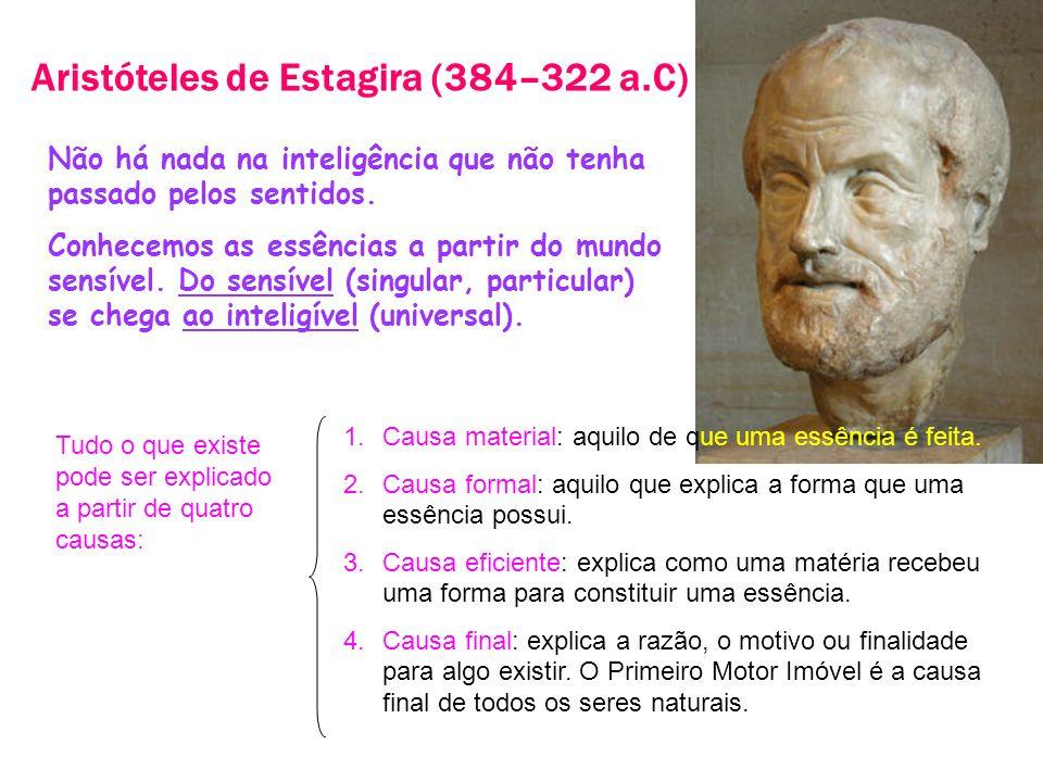 Aristóteles de Estagira (384–322 a.C) Não há nada na inteligência que não tenha passado pelos sentidos. Conhecemos as essências a partir do mundo sens