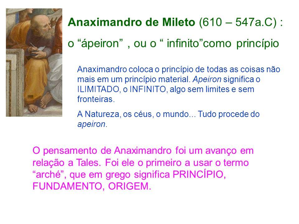 Anaximandro de Mileto (610 – 547a.C) : o ápeiron, ou o infinitocomo princípio Anaximandro coloca o princípio de todas as coisas não mais em um princíp