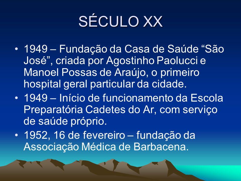 SÉCULO XX 1949 – Fundação da Casa de Saúde São José, criada por Agostinho Paolucci e Manoel Possas de Araújo, o primeiro hospital geral particular da