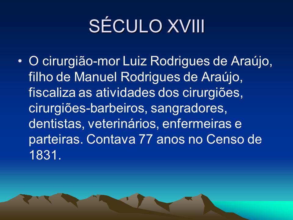 SÉCULO XVIII O cirurgião-mor Luiz Rodrigues de Araújo, filho de Manuel Rodrigues de Araújo, fiscaliza as atividades dos cirurgiões, cirurgiões-barbeir