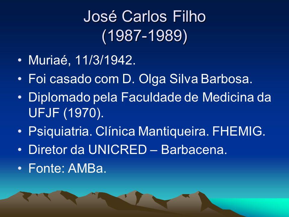 José Carlos Filho (1987-1989) Muriaé, 11/3/1942. Foi casado com D. Olga Silva Barbosa. Diplomado pela Faculdade de Medicina da UFJF (1970). Psiquiatri