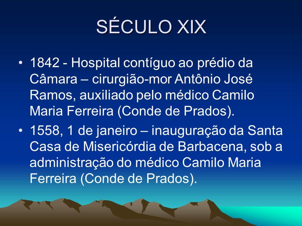 SÉCULO XIX 1842 - Hospital contíguo ao prédio da Câmara – cirurgião-mor Antônio José Ramos, auxiliado pelo médico Camilo Maria Ferreira (Conde de Prad