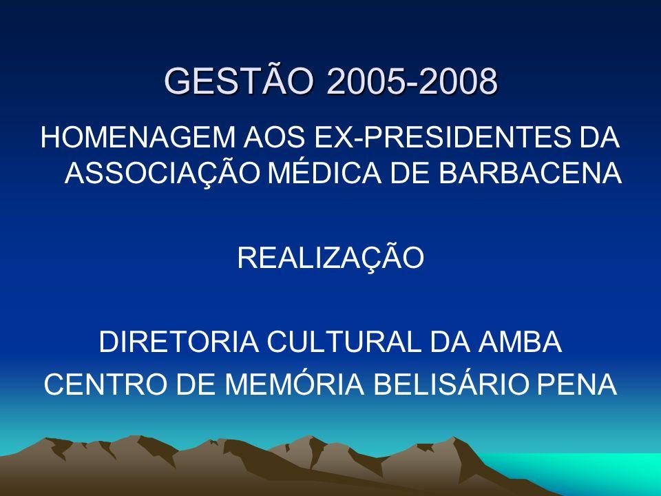 GESTÃO 2005-2008 HOMENAGEM AOS EX-PRESIDENTES DA ASSOCIAÇÃO MÉDICA DE BARBACENA REALIZAÇÃO DIRETORIA CULTURAL DA AMBA CENTRO DE MEMÓRIA BELISÁRIO PENA