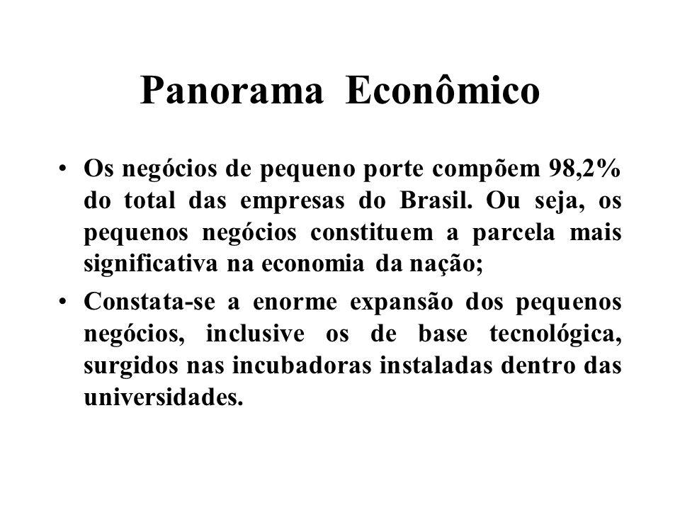 Panorama Econômico Os negócios de pequeno porte compõem 98,2% do total das empresas do Brasil.