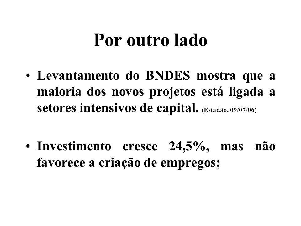 Por outro lado Levantamento do BNDES mostra que a maioria dos novos projetos está ligada a setores intensivos de capital.