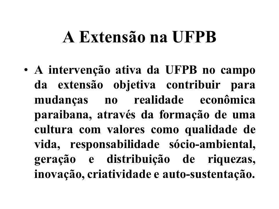 A Extensão na UFPB A intervenção ativa da UFPB no campo da extensão objetiva contribuir para mudanças no realidade econômica paraibana, através da formação de uma cultura com valores como qualidade de vida, responsabilidade sócio-ambiental, geração e distribuição de riquezas, inovação, criatividade e auto-sustentação.