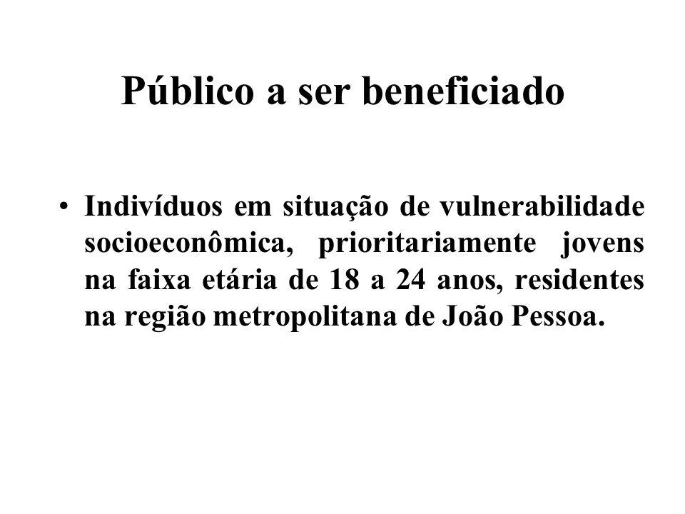 Público a ser beneficiado Indivíduos em situação de vulnerabilidade socioeconômica, prioritariamente jovens na faixa etária de 18 a 24 anos, residentes na região metropolitana de João Pessoa.