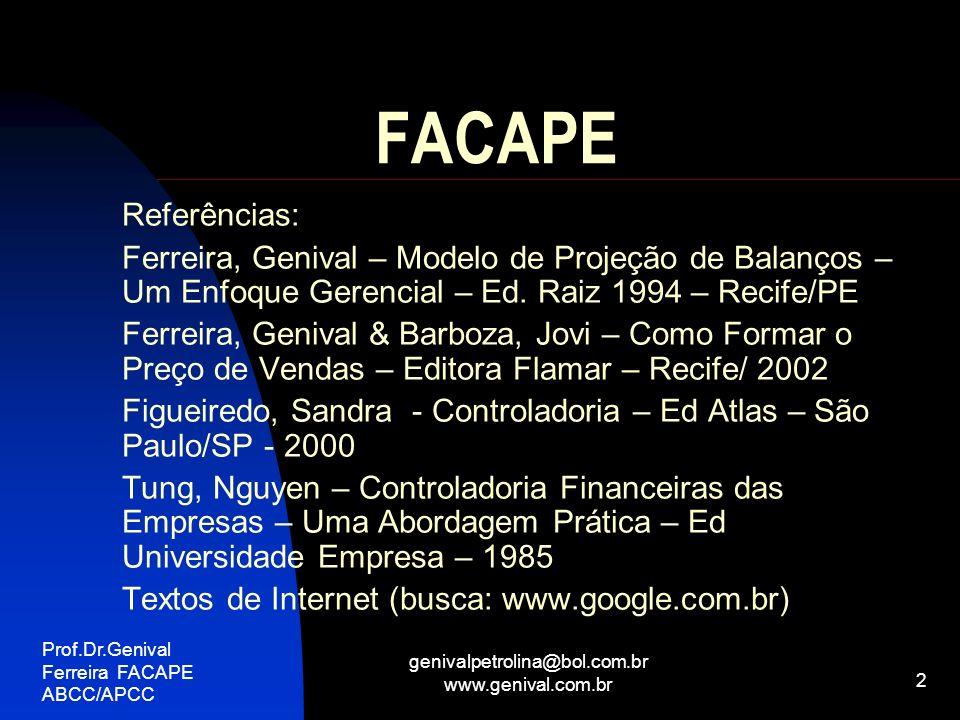 Prof.Dr.Genival Ferreira FACAPE ABCC/APCC genivalpetrolina@bol.com.br www.genival.com.br 3 FACAPE Controladoria – Século XXI Missão e Função Instrumentos de Gestão: EVA Resultado Ajustado ao Risco ABC Benchmarch