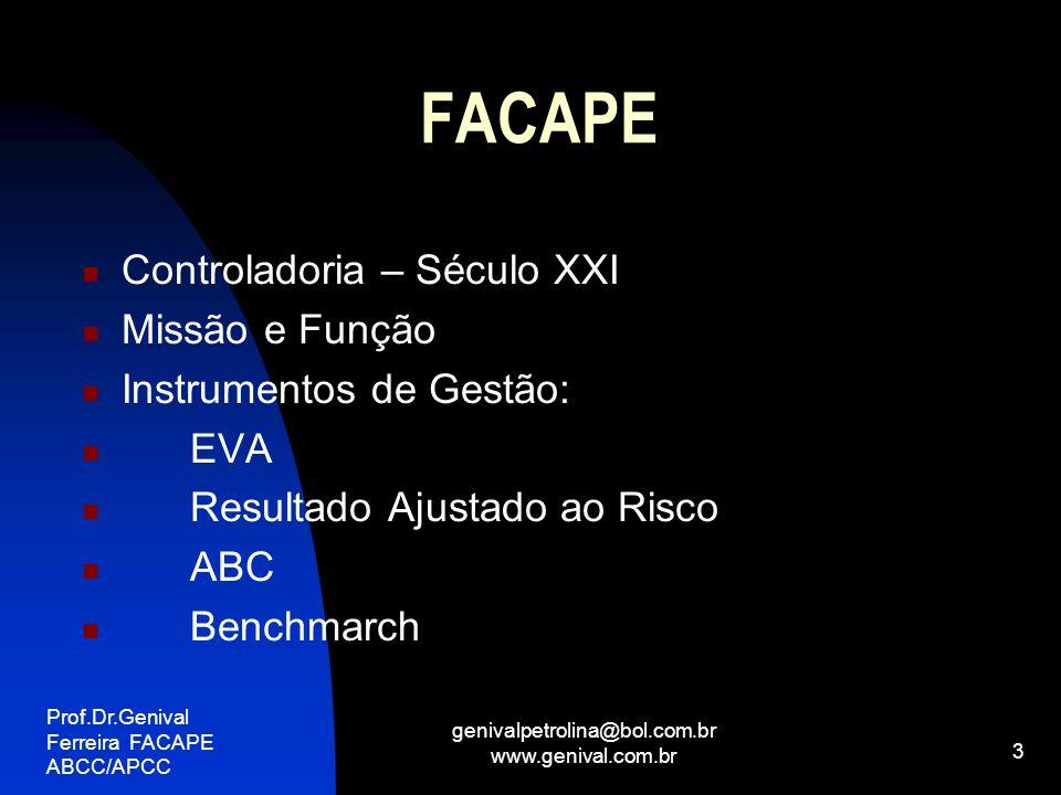 Prof.Dr.Genival Ferreira FACAPE ABCC/APCC genivalpetrolina@bol.com.br www.genival.com.br 4 FACAPE Instrumentos de Gestão(Continuação): Indicadores Não Financeiros Balanced Scorecard - BSC Teoria das Restrições Gestão Econômica - GECON Controladoria na busca da Otimização de desempenho nas Organizações