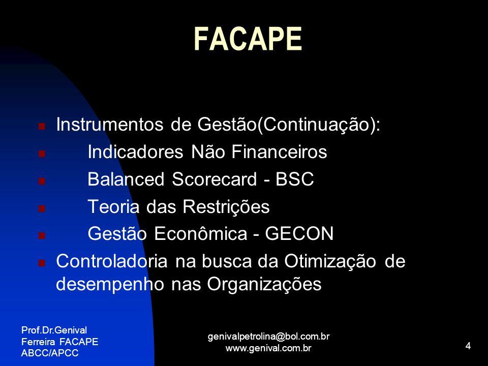 Prof.Dr.Genival Ferreira FACAPE ABCC/APCC genivalpetrolina@bol.com.br www.genival.com.br 5 FACAPE SISTEMAS DE INFORMAÇÕES PARA A CONTROLADORIA: Contábil Orçamentário Extra-Contábil Orçamento Flexível Projeções e Simulações DRE, BP e Fluxo de Caixa Elaboração de Plano Orçamentário