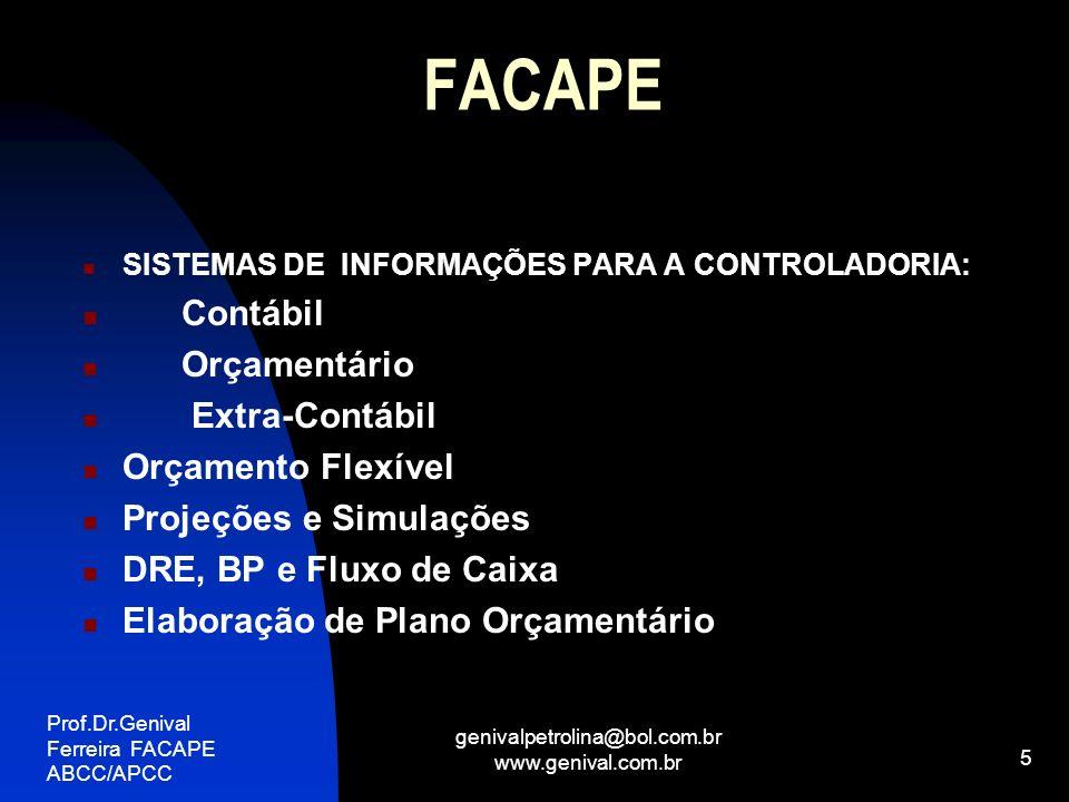 Prof.Dr.Genival Ferreira FACAPE ABCC/APCC genivalpetrolina@bol.com.br www.genival.com.br 5 FACAPE SISTEMAS DE INFORMAÇÕES PARA A CONTROLADORIA: Contáb