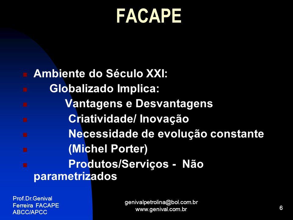 Prof.Dr.Genival Ferreira FACAPE ABCC/APCC genivalpetrolina@bol.com.br www.genival.com.br 6 FACAPE Ambiente do Século XXI: Globalizado Implica: Vantage