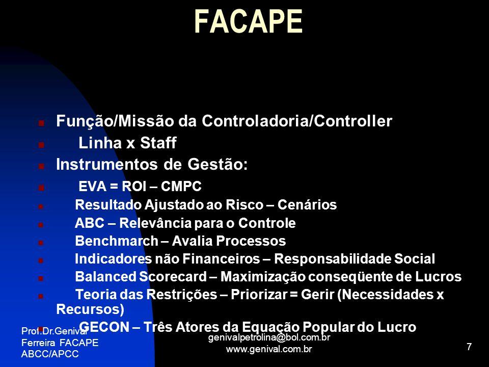 Prof.Dr.Genival Ferreira FACAPE ABCC/APCC genivalpetrolina@bol.com.br www.genival.com.br 8 FACAPE SISTEMAS DE INFORMAÇÕES PARA A CONTROLADORIA: Contábil = Base Essencial Orçamentário = Base Tática Extra-Contábil = Base Estratégica