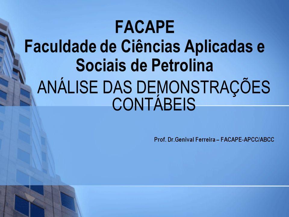 FACAPE Faculdade de Ciências Aplicadas e Sociais de Petrolina ANÁLISE DAS DEMONSTRAÇÕES CONTÁBEIS Prof. Dr.Genival Ferreira – FACAPE-APCC/ABCC