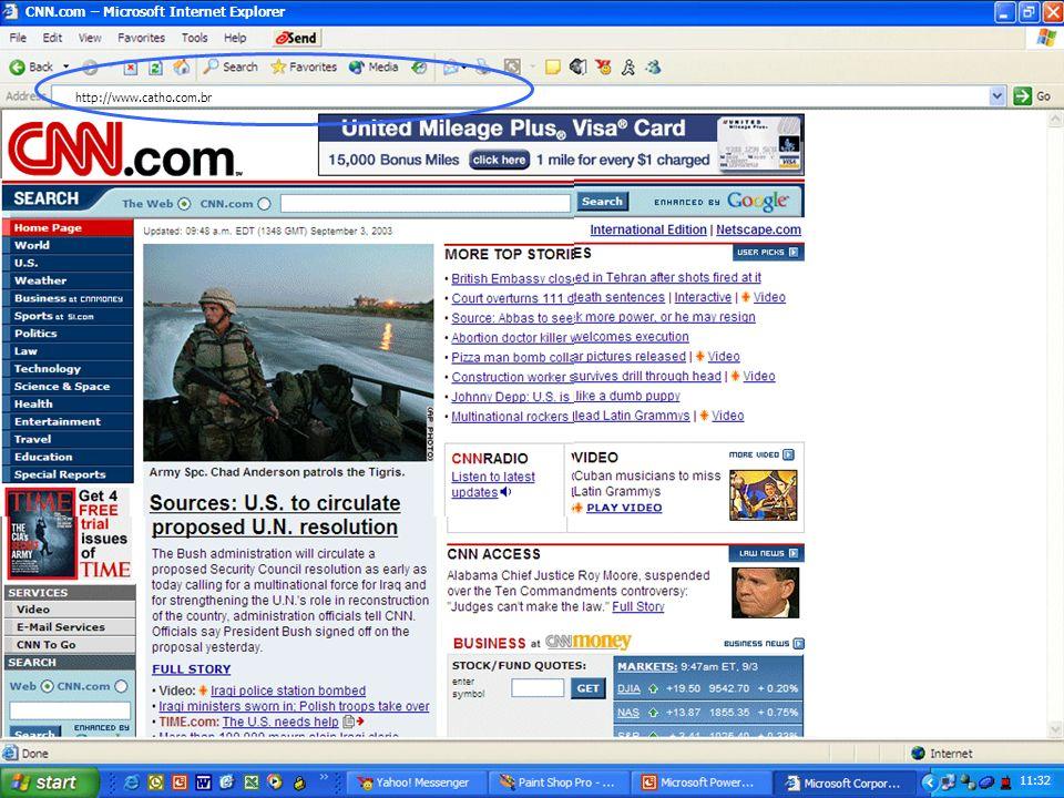 Amazon.com Welcome! – Microsoft Internet Explorer 11:15 http://www.cnn.com Olá Novamente Edvaldo Esta é uma mensagem do departamento de informática. A