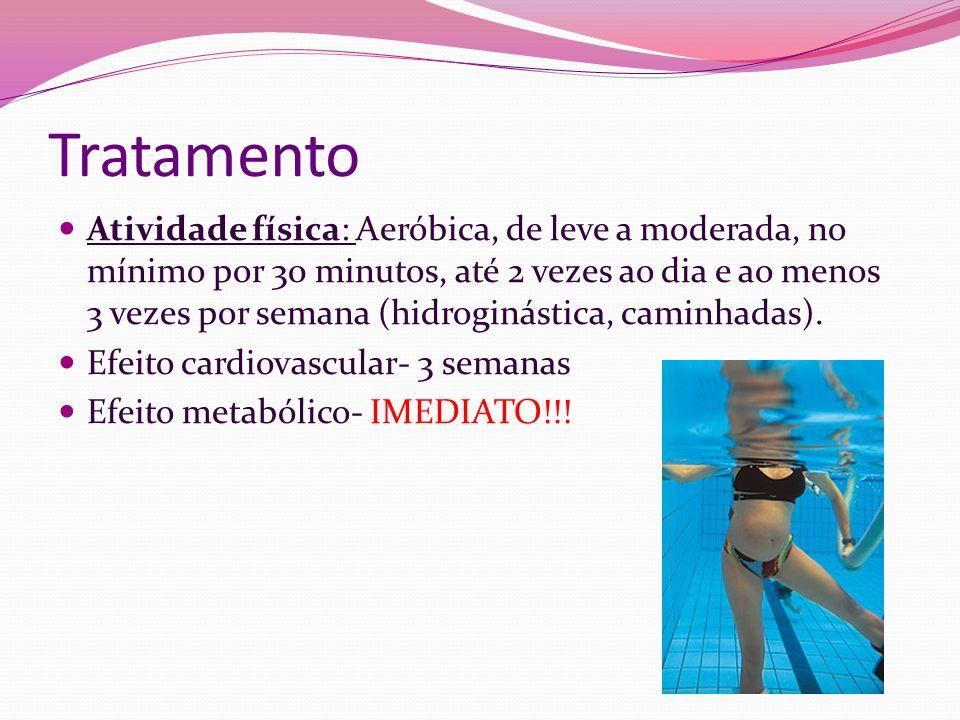 Tratamento Atividade física: Aeróbica, de leve a moderada, no mínimo por 30 minutos, até 2 vezes ao dia e ao menos 3 vezes por semana (hidroginástica,