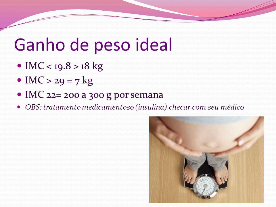 Ganho de peso ideal IMC 18 kg IMC > 29 = 7 kg IMC 22= 200 a 300 g por semana OBS: tratamento medicamentoso (insulina) checar com seu médico