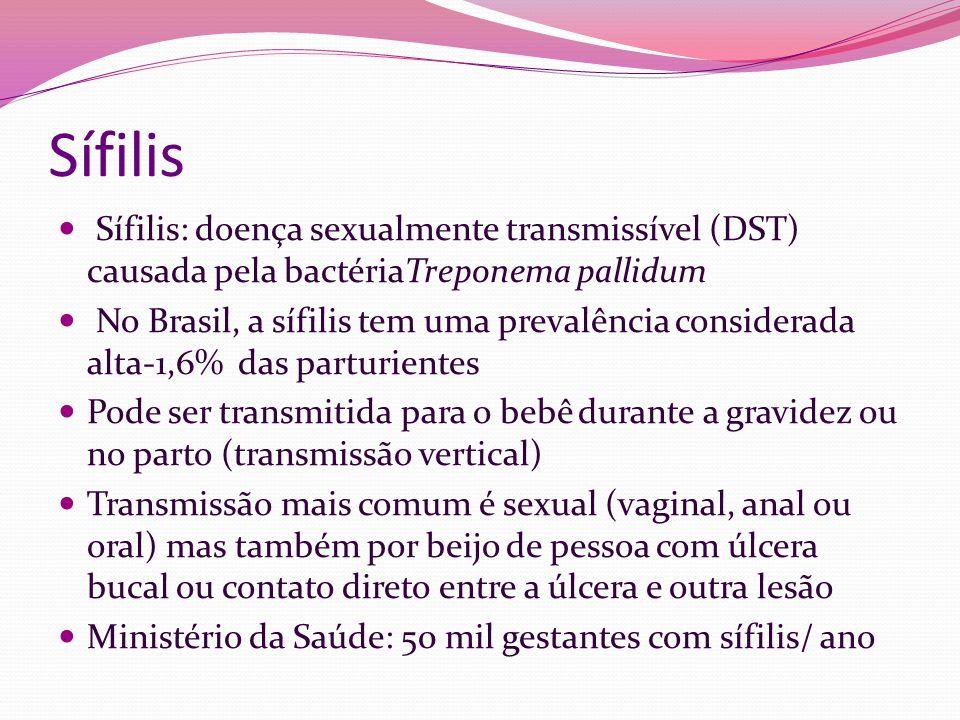 Sífilis Sífilis: doença sexualmente transmissível (DST) causada pela bactériaTreponema pallidum No Brasil, a sífilis tem uma prevalência considerada a