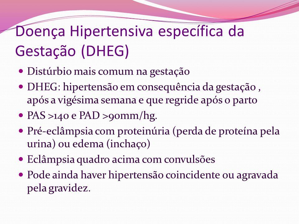 Doença Hipertensiva específica da Gestação (DHEG) Distúrbio mais comum na gestação DHEG: hipertensão em consequência da gestação, após a vigésima sema
