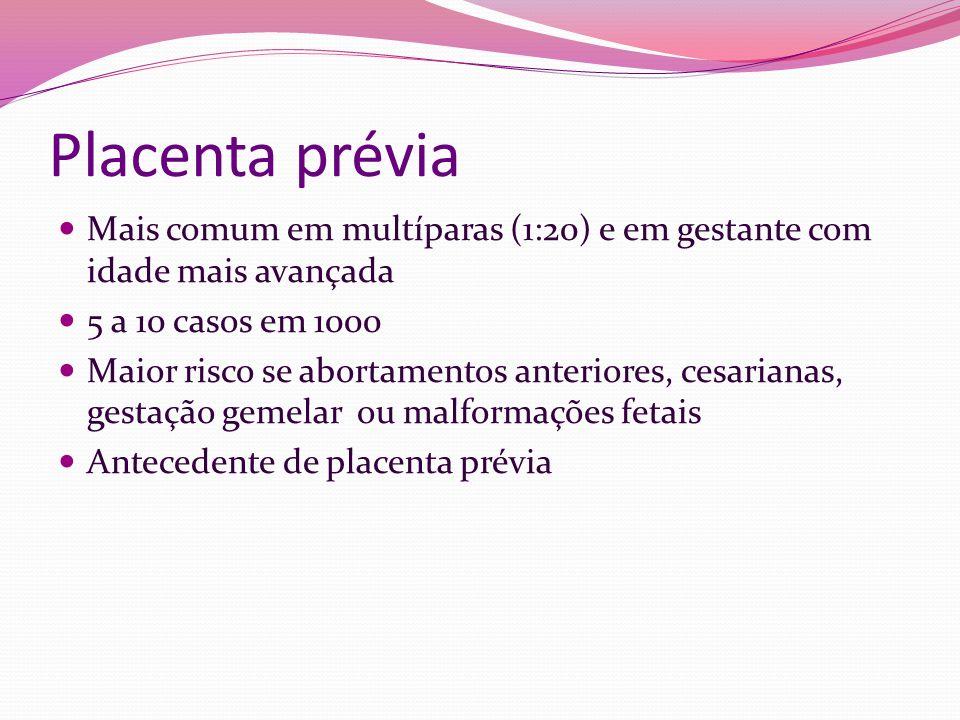 Placenta prévia Mais comum em multíparas (1:20) e em gestante com idade mais avançada 5 a 10 casos em 1000 Maior risco se abortamentos anteriores, ces