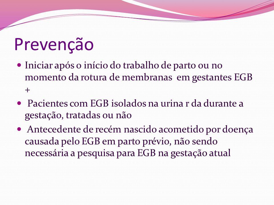 Prevenção Iniciar após o início do trabalho de parto ou no momento da rotura de membranas em gestantes EGB + Pacientes com EGB isolados na urina r da