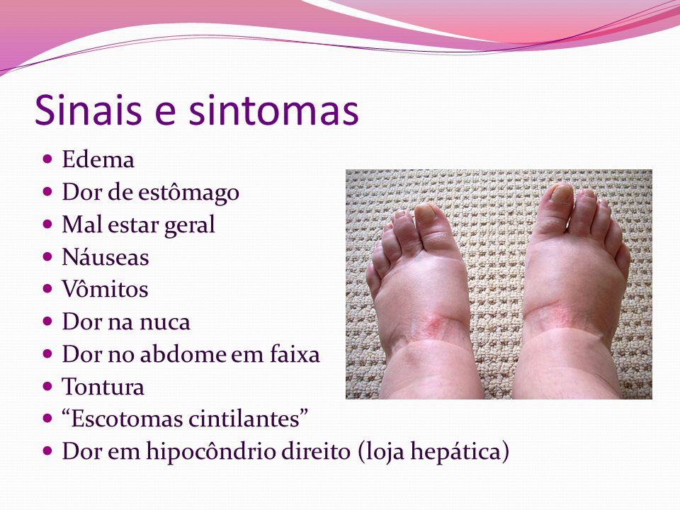 Sinais e sintomas Edema Dor de estômago Mal estar geral Náuseas Vômitos Dor na nuca Dor no abdome em faixa Tontura Escotomas cintilantes Dor em hipocô
