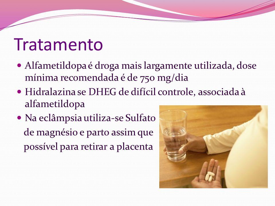 Tratamento Alfametildopa é droga mais largamente utilizada, dose mínima recomendada é de 750 mg/dia Hidralazina se DHEG de difícil controle, associada