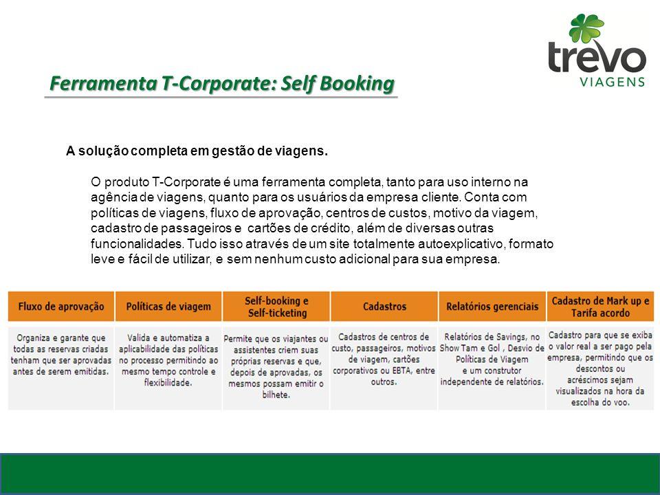 A solução completa em gestão de viagens. O produto T-Corporate é uma ferramenta completa, tanto para uso interno na agência de viagens, quanto para os