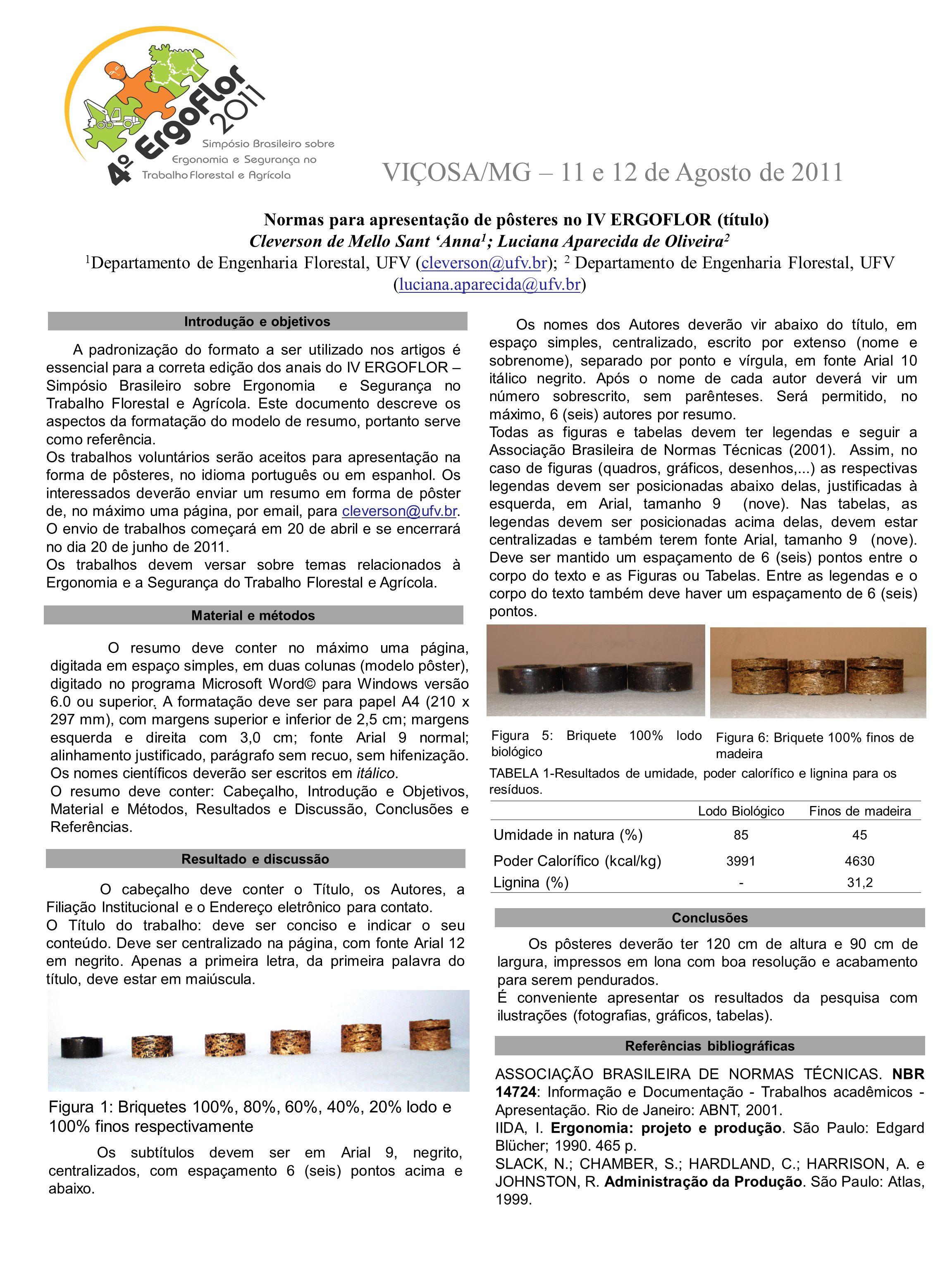 VIÇOSA/MG – 11 e 12 de Agosto de 2011 Introdução e objetivos O resumo deve conter no máximo uma página, digitada em espaço simples, em duas colunas (m