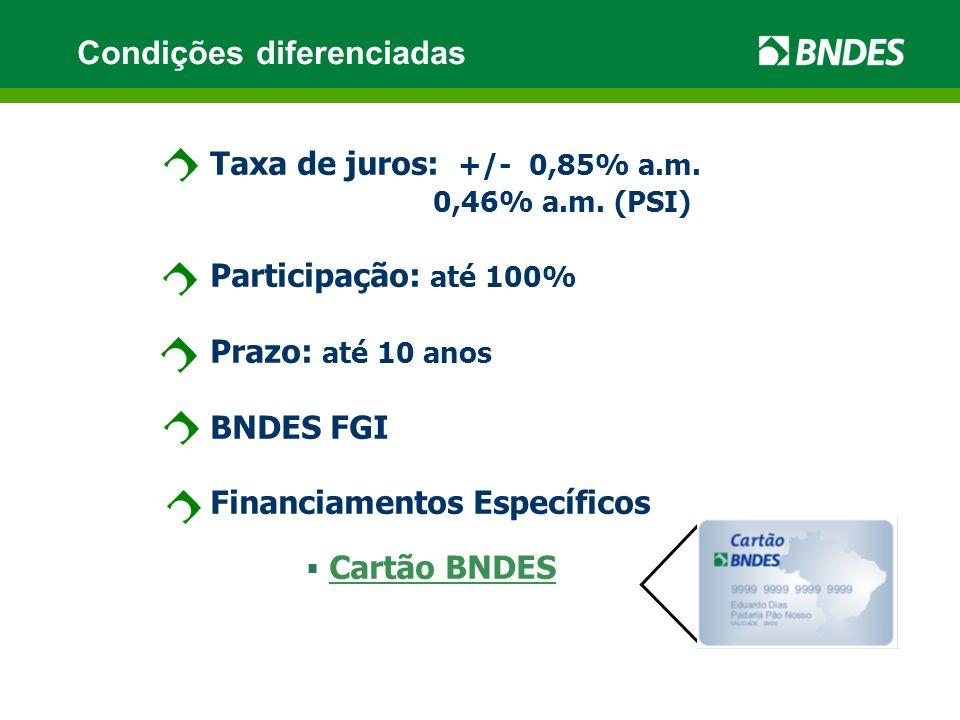 Taxa de juros: +/- 0,85% a.m. 0,46% a.m.