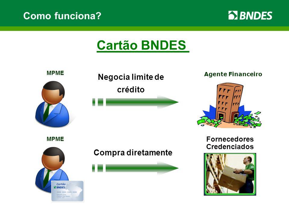 MPME Agente Financeiro Fornecedores Credenciados MPME Negocia limite de crédito Compra diretamente Cartão BNDES Como funciona