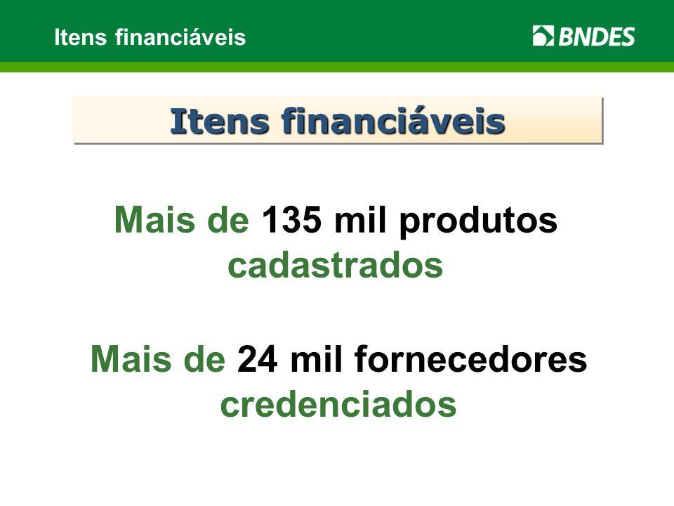 Itens financiáveis Mais de 135 mil produtos cadastrados Mais de 24 mil fornecedores credenciados Itens financiáveis