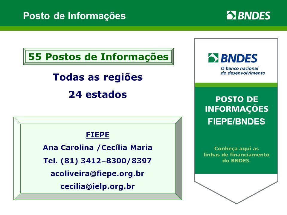 Todas as regiões 24 estados 55 Postos de Informações XXXXX / BNDES FIEPE Ana Carolina /Cecília Maria Tel.