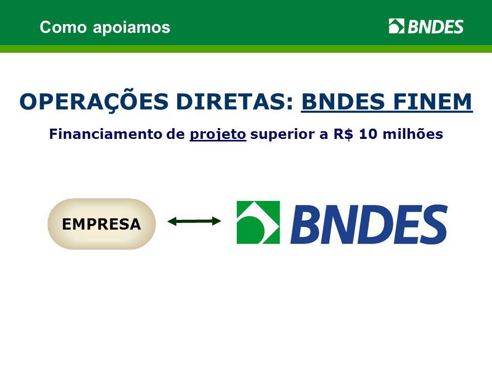 OPERAÇÕES DIRETAS: BNDES FINEM Financiamento de projeto superior a R$ 10 milhões EMPRESA Como apoiamos