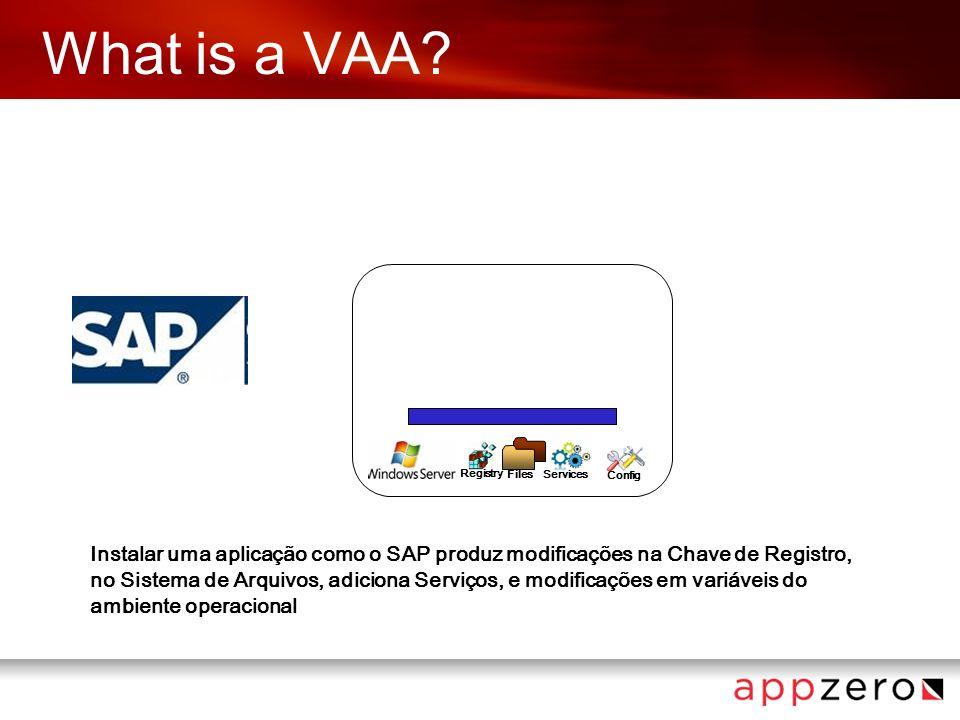 What is a VAA? Config Registry Files Services Instalar uma aplicação como o SAP produz modificações na Chave de Registro, no Sistema de Arquivos, adic