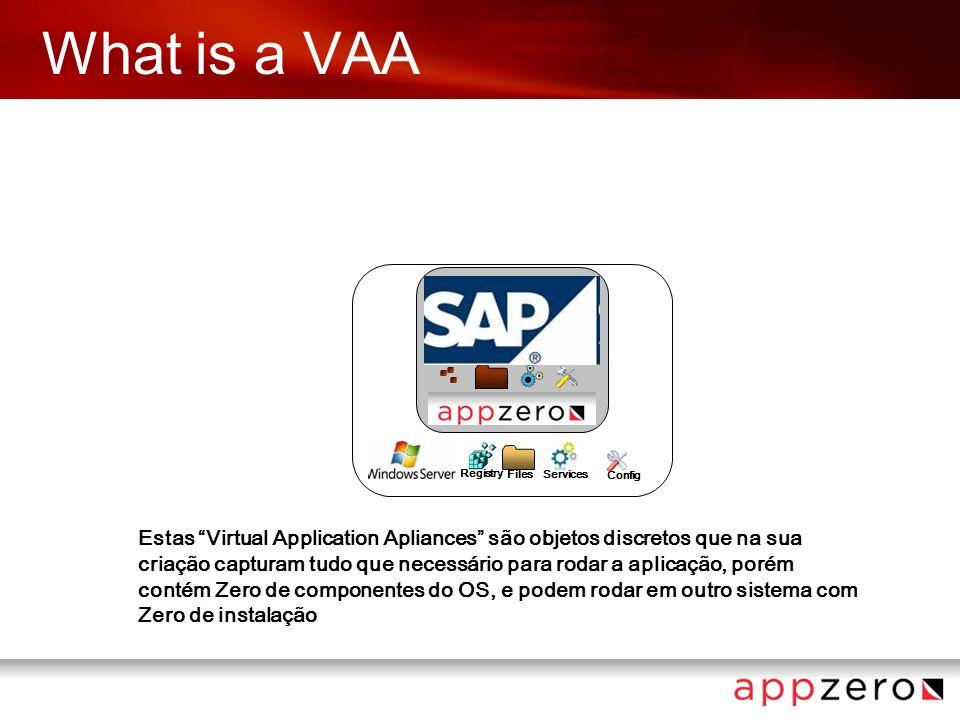 What is a VAA Config Registry FilesServices Estas Virtual Application Apliances são objetos discretos que na sua criação capturam tudo que necessário para rodar a aplicação, porém contém Zero de componentes do OS, e podem rodar em outro sistema com Zero de instalação