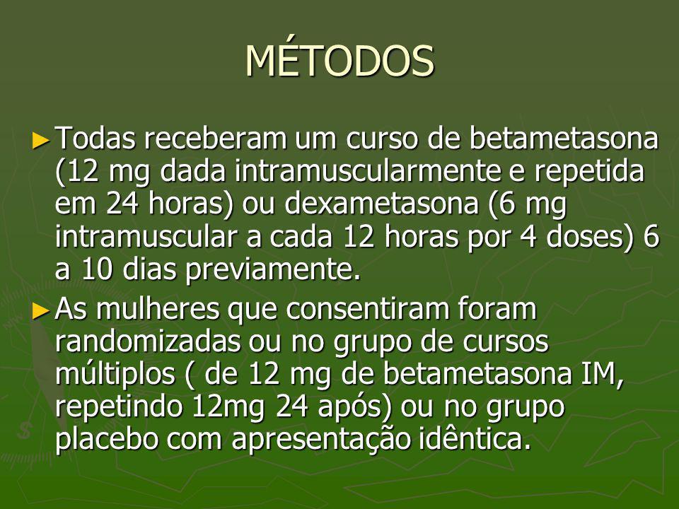 MÉTODOS Todas receberam um curso de betametasona (12 mg dada intramuscularmente e repetida em 24 horas) ou dexametasona (6 mg intramuscular a cada 12