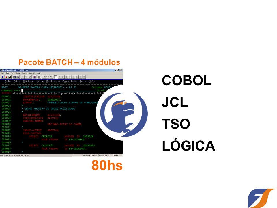 COBOL JCL TSO LÓGICA Pacote BATCH – 4 módulos 80hs