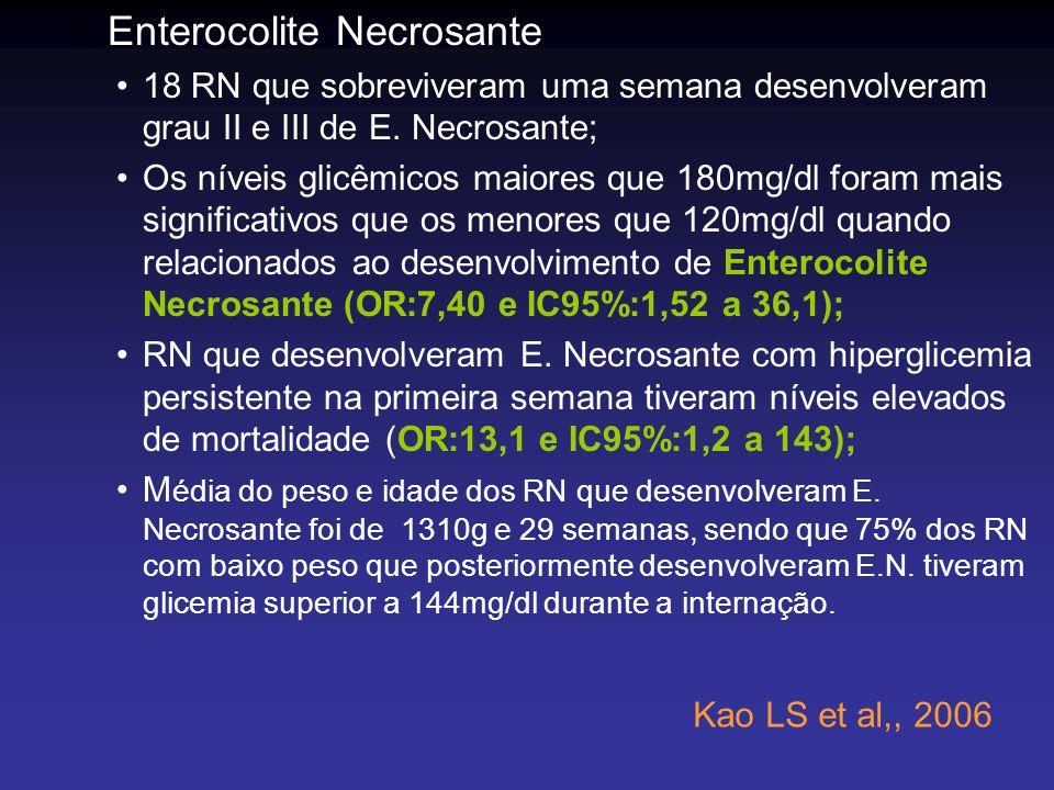 –:Enterocolite Necrosante 18 RN que sobreviveram uma semana desenvolveram grau II e III de E. Necrosante; Os níveis glicêmicos maiores que 180mg/dl fo