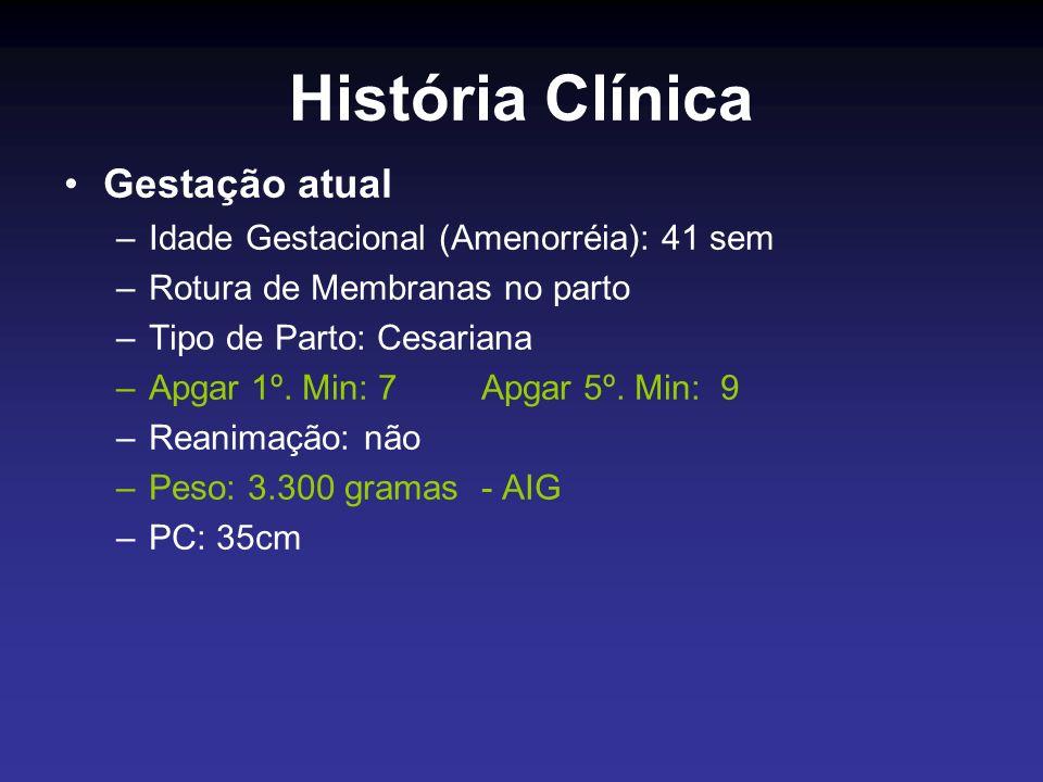 História Clínica Gestação atual –Idade Gestacional (Amenorréia): 41 sem –Rotura de Membranas no parto –Tipo de Parto: Cesariana –Apgar 1º. Min: 7 Apga